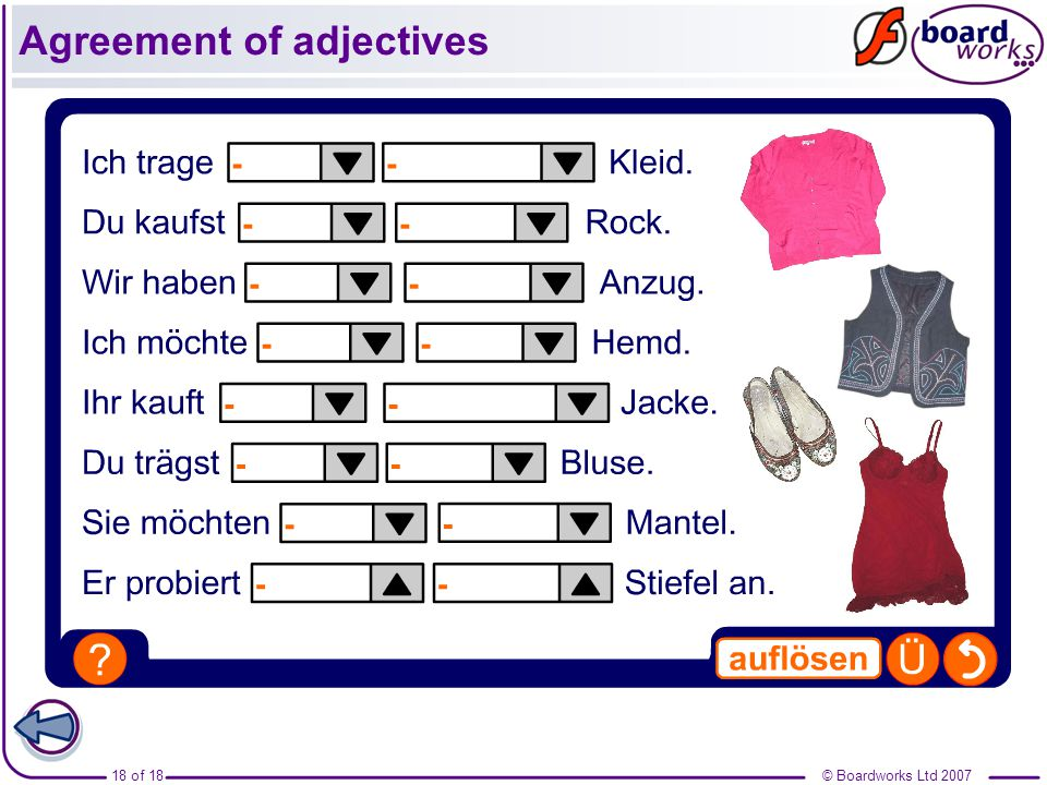© Boardworks Ltd of 18 Agreement of adjectives