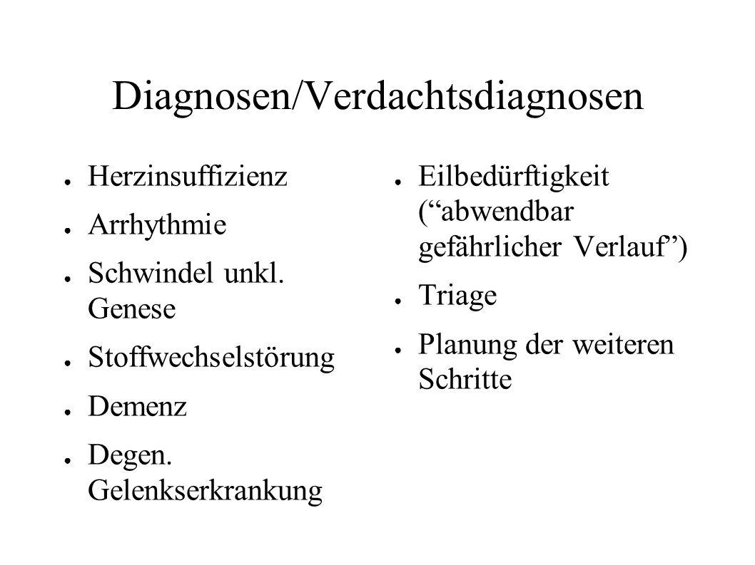 Diagnosen/Verdachtsdiagnosen ● Herzinsuffizienz ● Arrhythmie ● Schwindel unkl. Genese ● Stoffwechselstörung ● Demenz ● Degen. Gelenkserkrankung ● Eilb