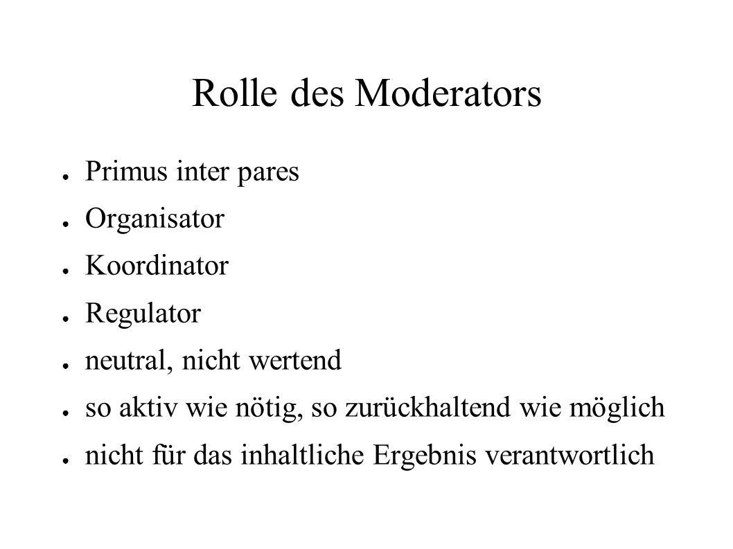 Rolle des Moderators ● Primus inter pares ● Organisator ● Koordinator ● Regulator ● neutral, nicht wertend ● so aktiv wie nötig, so zurückhaltend wie