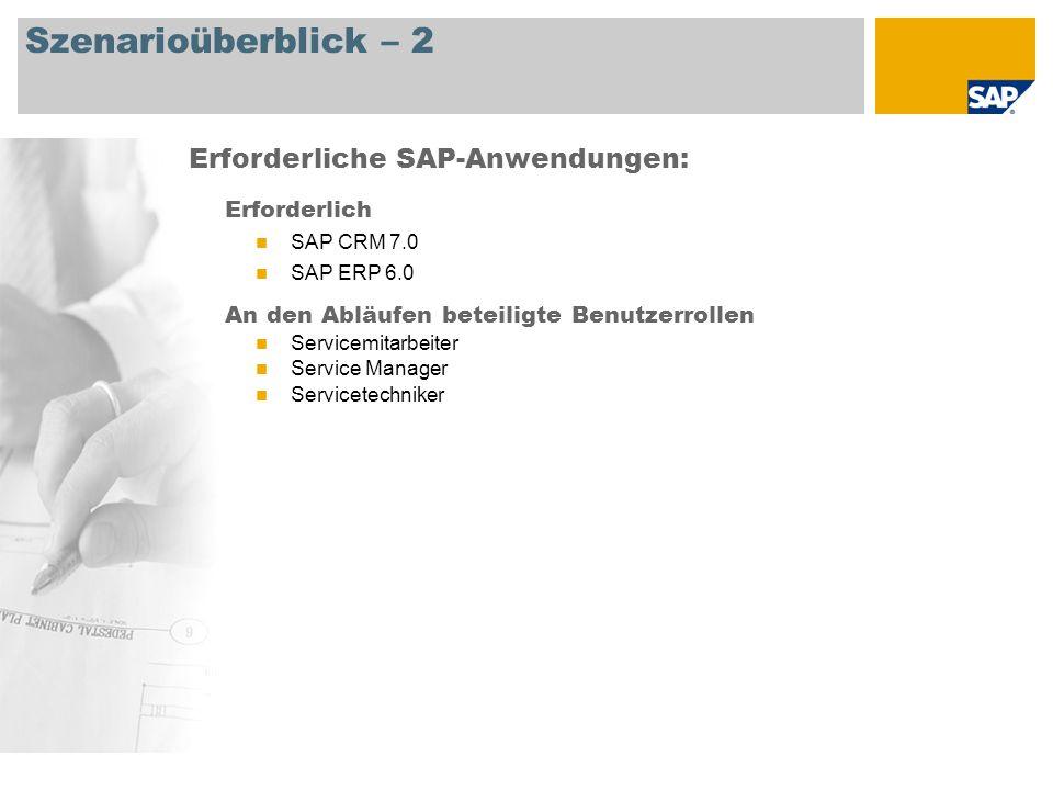 Szenarioüberblick – 2 Erforderlich SAP CRM 7.0 SAP ERP 6.0 An den Abläufen beteiligte Benutzerrollen Servicemitarbeiter Service Manager Servicetechniker Erforderliche SAP-Anwendungen: