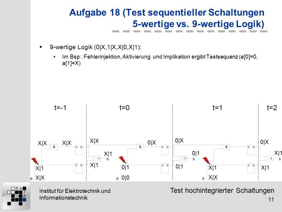 Test hochintegrierter Schaltungen 11 Institut für Elektrotechnik und Informationstechnik 0|1 X|1 0|1 X|1 0|X X|1 X|X 0|X 0|0 X|X Aufgabe 18 (Test sequentieller Schaltungen 5-wertige vs.