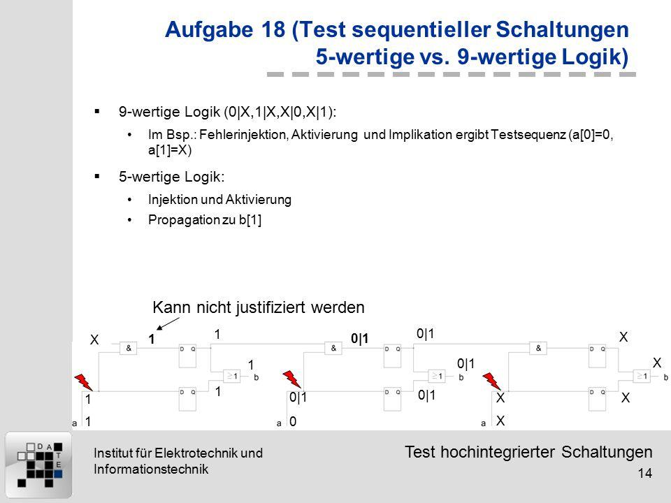 Test hochintegrierter Schaltungen 14 Institut für Elektrotechnik und Informationstechnik Aufgabe 18 (Test sequentieller Schaltungen 5-wertige vs. 9-we