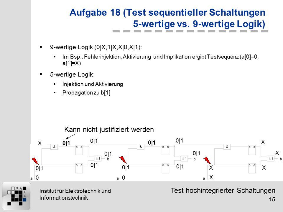 Test hochintegrierter Schaltungen 15 Institut für Elektrotechnik und Informationstechnik Aufgabe 18 (Test sequentieller Schaltungen 5-wertige vs.