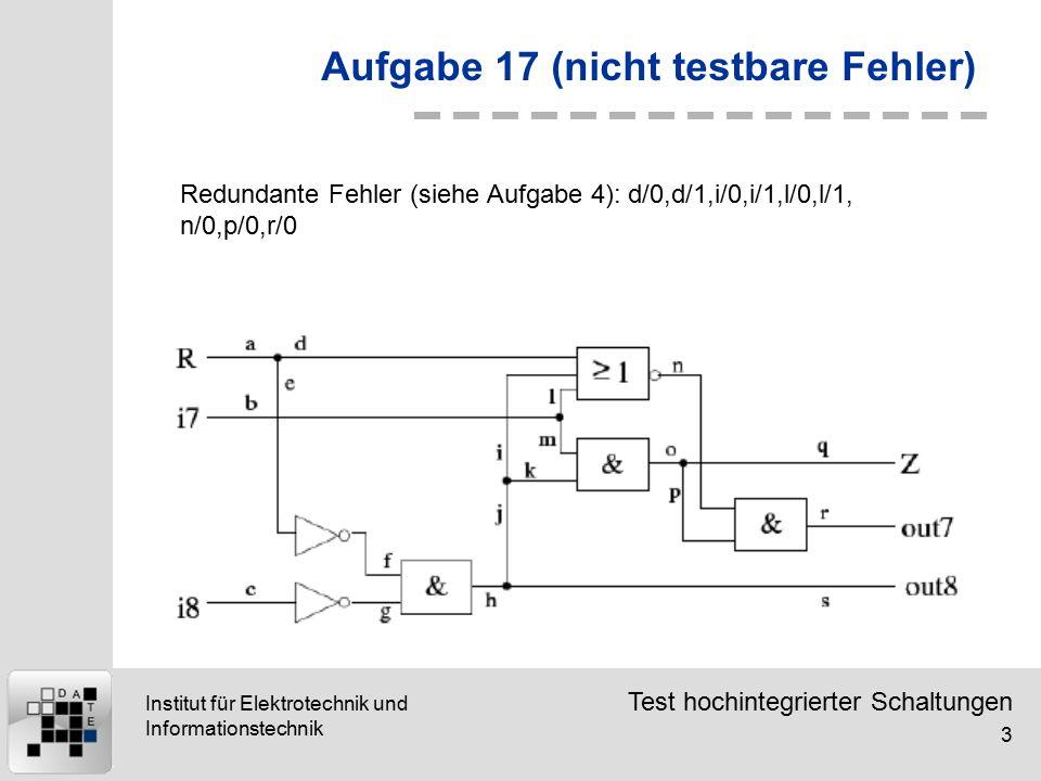 Test hochintegrierter Schaltungen 3 Institut für Elektrotechnik und Informationstechnik Aufgabe 17 (nicht testbare Fehler) Redundante Fehler (siehe Aufgabe 4): d/0,d/1,i/0,i/1,l/0,l/1, n/0,p/0,r/0