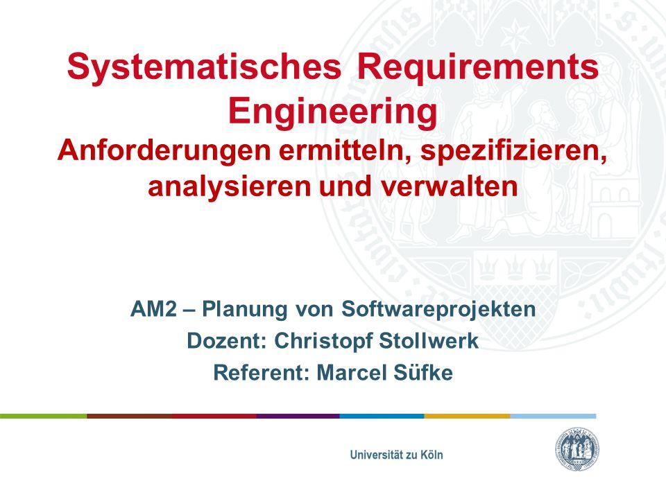 Inhaltsverzeichnis 1.Ausgangssituation 2.Was ist Requirements Engineering 3.Warum Requirements Engineering 4.Risiken im Requirements Engineering 5.Anforderungen 1&2 6.Methodik 7.Rollen im RE 8.Requirements-Engineer 9.Werkzeuge