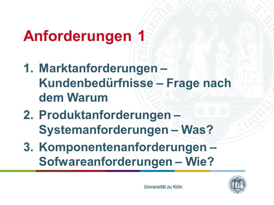 Anforderungen 1 1.Marktanforderungen – Kundenbedürfnisse – Frage nach dem Warum 2.Produktanforderungen – Systemanforderungen – Was? 3.Komponentenanfor