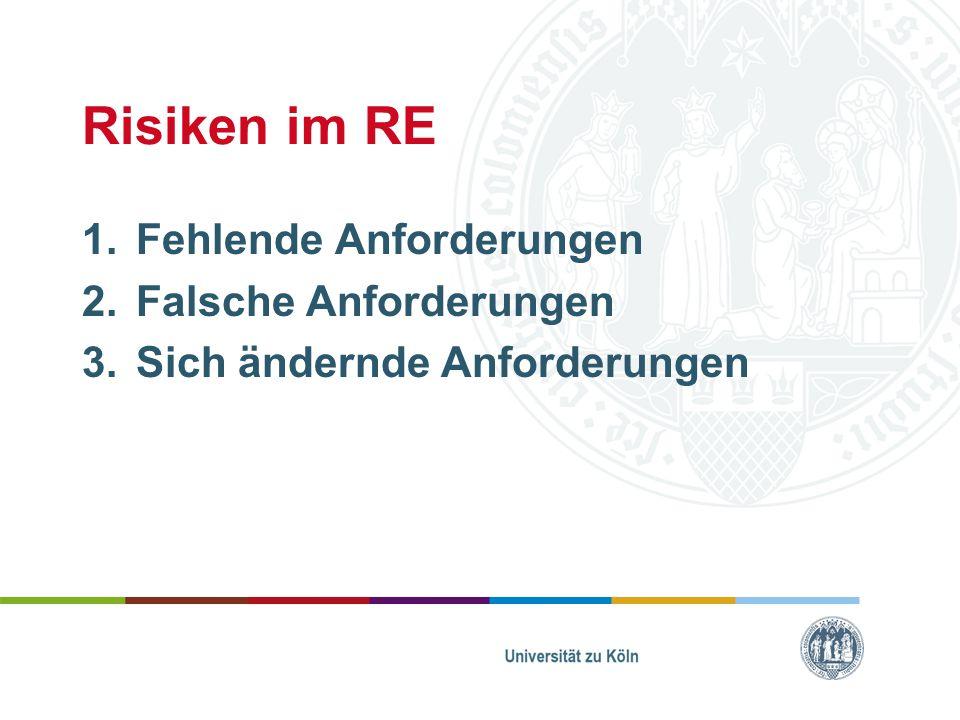 Risiken im RE 1.Fehlende Anforderungen 2.Falsche Anforderungen 3.Sich ändernde Anforderungen