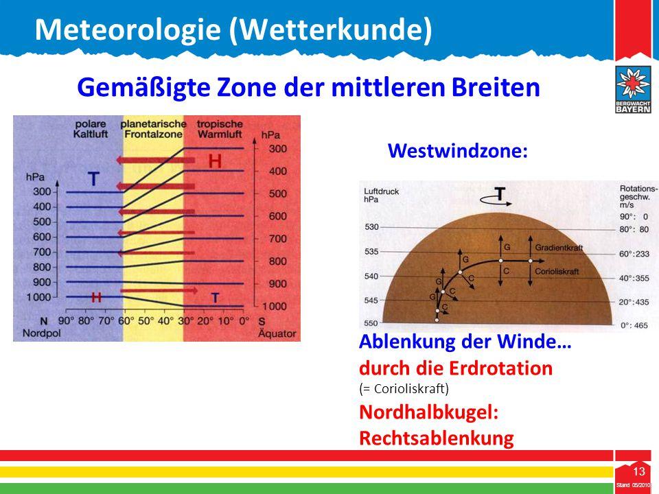 13 Stand 05/2010 13 Gemäßigte Zone der mittleren Breiten Westwindzone: Ablenkung der Winde… durch die Erdrotation (= Corioliskraft) Nordhalbkugel: Rec
