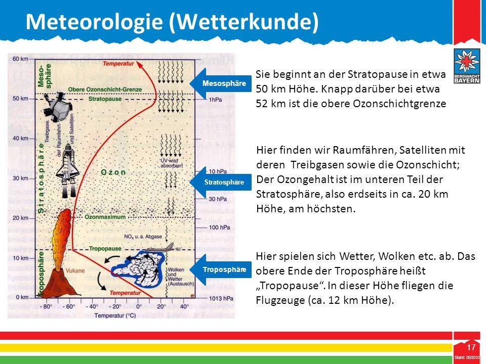 """17 Stand 05/2010 17 Meteorologie (Wetterkunde) Stand 05/2010 Hier spielen sich Wetter, Wolken etc. ab. Das obere Ende der Troposphäre heißt """"Tropopaus"""