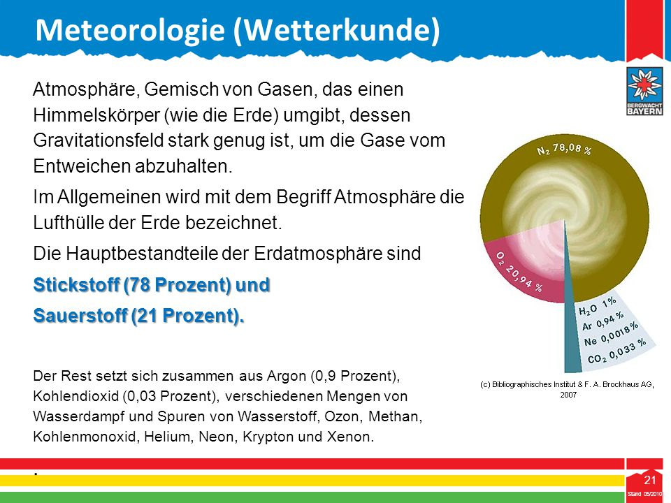 21 Stand 05/2010 21 Meteorologie (Wetterkunde) Stand 05/2010 Atmosphäre, Gemisch von Gasen, das einen Himmelskörper (wie die Erde) umgibt, dessen Grav