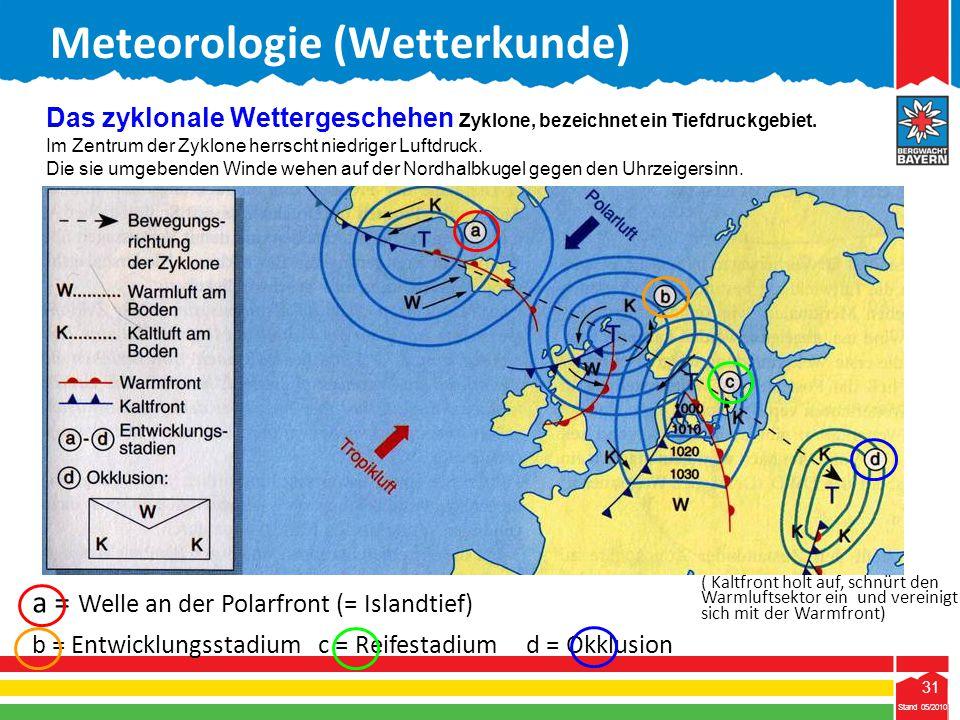 31 Stand 05/2010 31 Meteorologie (Wetterkunde) Stand 05/2010 Das zyklonale Wettergeschehen Zyklone, bezeichnet ein Tiefdruckgebiet. Im Zentrum der Zyk