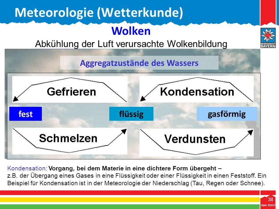 38 Stand 05/2010 38 Meteorologie (Wetterkunde) Stand 05/2010 Aggregatzustände des Wassers festflüssig gasförmig Wolken Abkühlung der Luft verursachte
