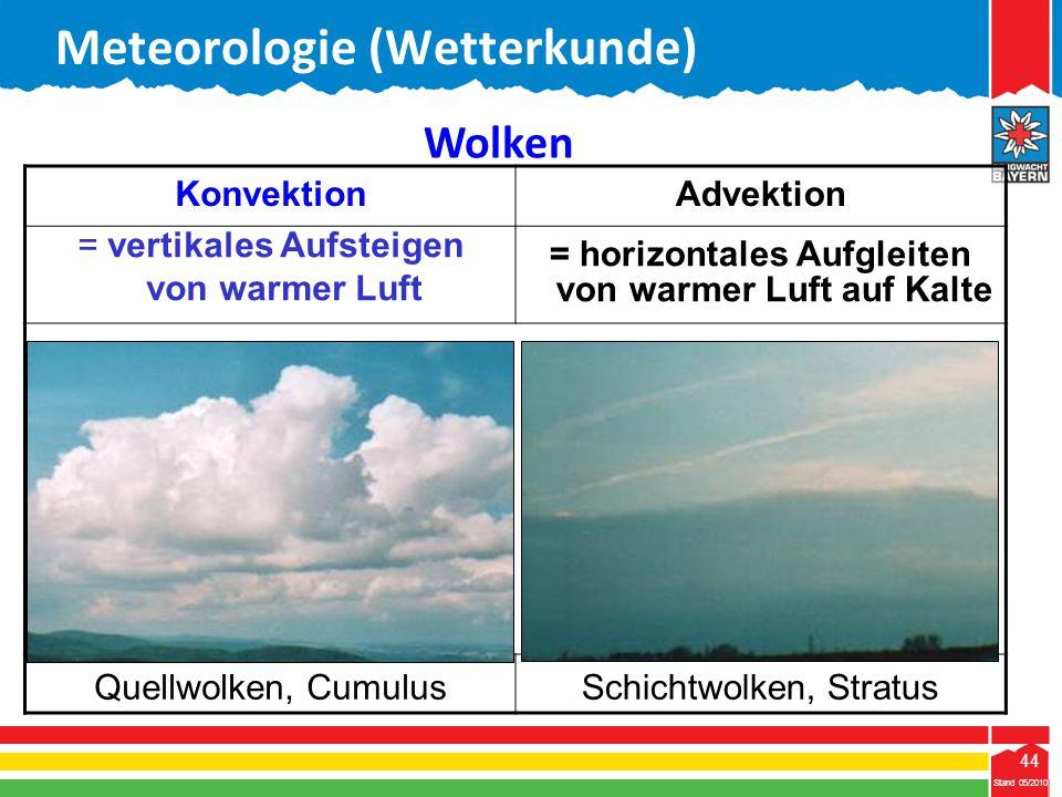 44 Stand 05/2010 44 Meteorologie (Wetterkunde) Stand 05/2010 KonvektionAdvektion = vertikales Aufsteigen von warmer Luft = horizontales Aufgleiten von