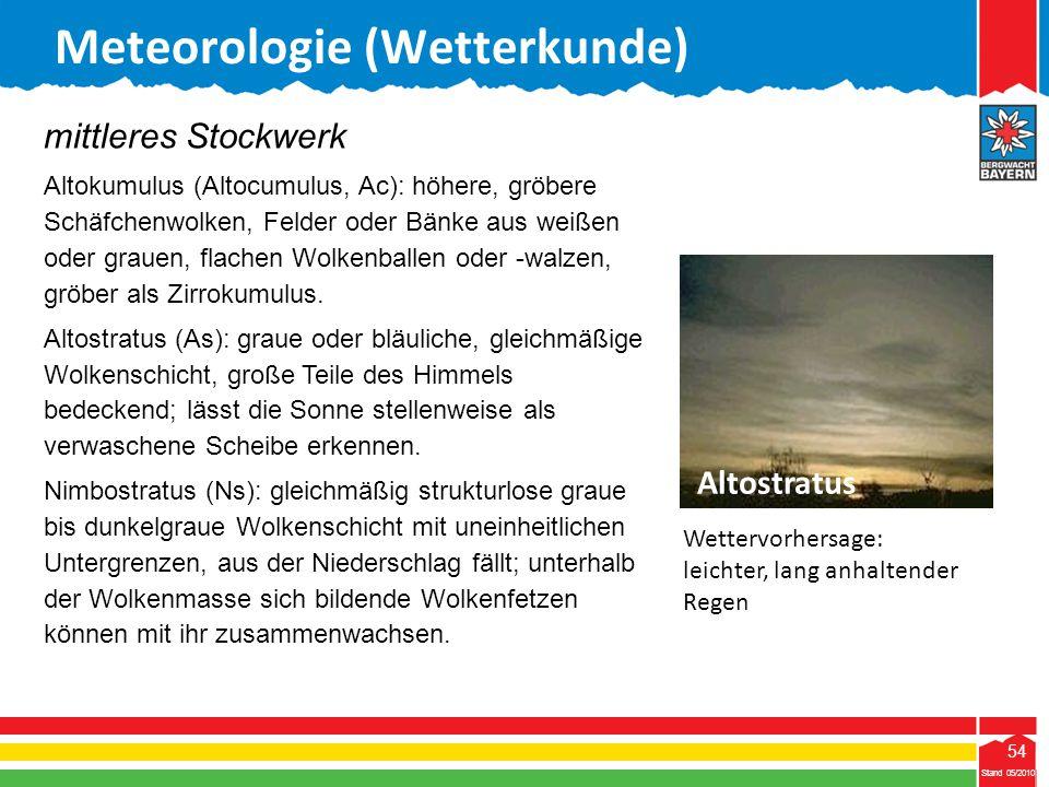 54 Stand 05/2010 54 Meteorologie (Wetterkunde) Stand 05/2010 mittleres Stockwerk Altokumulus (Altocumulus, Ac): höhere, gröbere Schäfchenwolken, Felde
