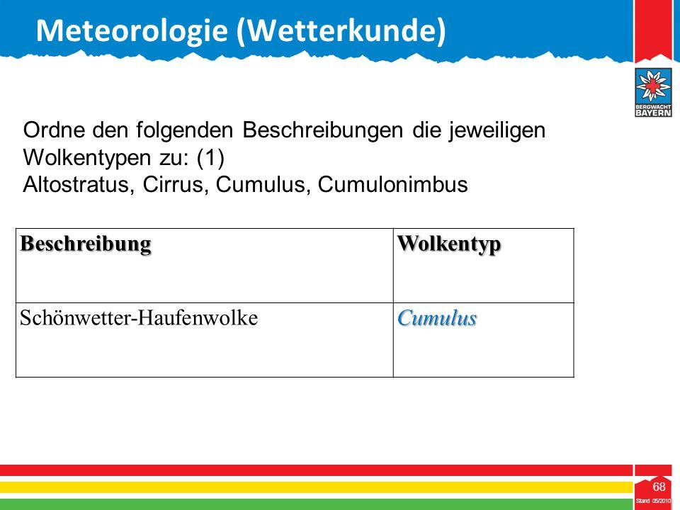 68 Stand 05/2010 68 Meteorologie (Wetterkunde) Stand 05/2010 BeschreibungWolkentyp Schönwetter-HaufenwolkeCumulus Ordne den folgenden Beschreibungen d