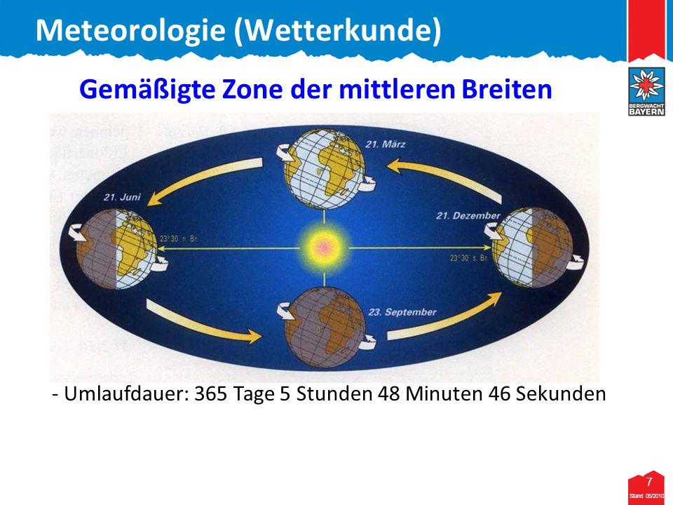 8 Stand 05/2010 8 Meteorologie (Wetterkunde) gemäßigte Zone Bayerwald: 48/49 Grad nördliche Breite Gemäßigte Zone der mittleren Breiten KlimazoneBreitenlage Stand 05/2010