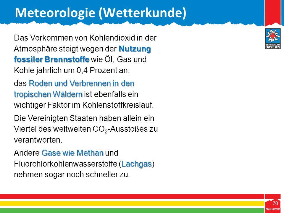 70 Stand 05/2010 70 Meteorologie (Wetterkunde) Stand 05/2010 Nutzung fossiler Brennstoffe Das Vorkommen von Kohlendioxid in der Atmosphäre steigt wege