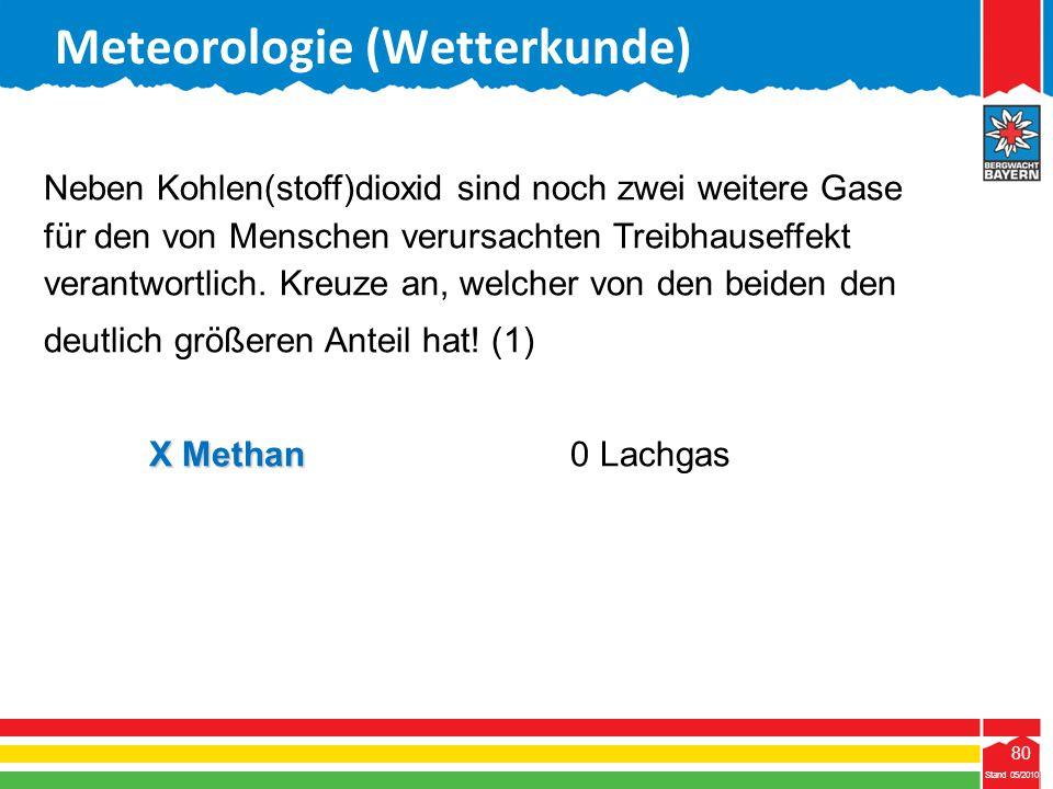 80 Stand 05/2010 80 Meteorologie (Wetterkunde) Stand 05/2010 Neben Kohlen(stoff)dioxid sind noch zwei weitere Gase für den von Menschen verursachten T