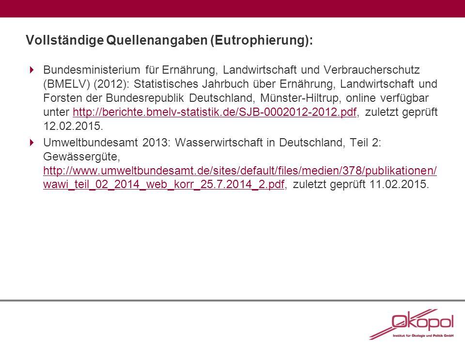 Vollständige Quellenangaben (Eutrophierung):  Bundesministerium für Ernährung, Landwirtschaft und Verbraucherschutz (BMELV) (2012): Statistisches Jahrbuch über Ernährung, Landwirtschaft und Forsten der Bundesrepublik Deutschland, Münster-Hiltrup, online verfügbar unter http://berichte.bmelv-statistik.de/SJB-0002012-2012.pdf, zuletzt geprüft 12.02.2015.http://berichte.bmelv-statistik.de/SJB-0002012-2012.pdf  Umweltbundesamt 2013: Wasserwirtschaft in Deutschland, Teil 2: Gewässergüte, http://www.umweltbundesamt.de/sites/default/files/medien/378/publikationen/ wawi_teil_02_2014_web_korr_25.7.2014_2.pdf, zuletzt geprüft 11.02.2015.
