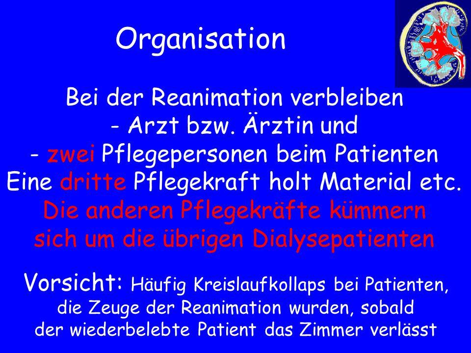 Organisation Bei der Reanimation verbleiben - Arzt bzw. Ärztin und - zwei Pflegepersonen beim Patienten Eine dritte Pflegekraft holt Material etc. Die