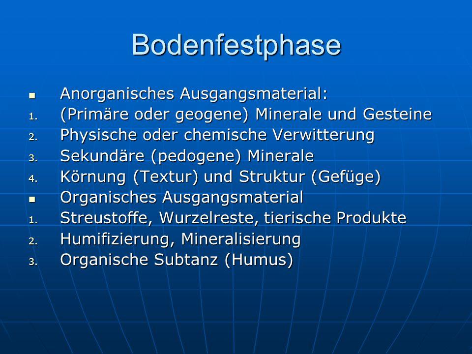 Bodenfestphase Anorganisches Ausgangsmaterial: Anorganisches Ausgangsmaterial: 1. (Primäre oder geogene) Minerale und Gesteine 2. Physische oder chemi