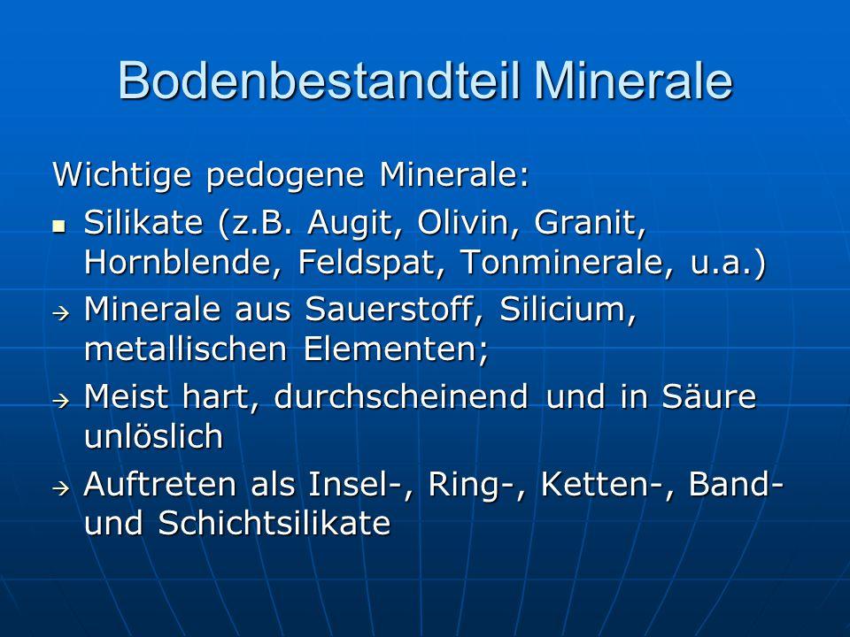 Bodenbestandteil Minerale Wichtige pedogene Minerale: Silikate (z.B. Augit, Olivin, Granit, Hornblende, Feldspat, Tonminerale, u.a.) Silikate (z.B. Au