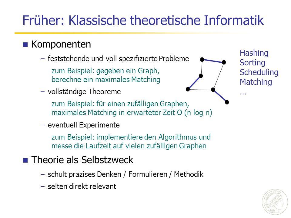 Jetzt: Angewandt auf der Basis guter Theorie Komponenten –Ausgangspunkt ist eine reale Anwendung entscheidend diese in ihrer Ganzheit zu verstehen –Abstraktion kritischer Teile (theoretischem Denken zugänglich machen) oft der schwierigste und kreativste Teil –Algorithmen / Datenstrukturen entwerfen und mathem.