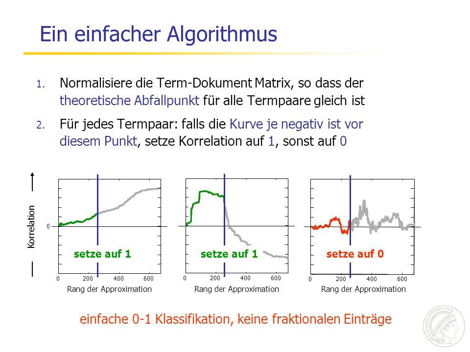 Ein einfacher Algorithmus 1. Normalisiere die Term-Dokument Matrix, so dass der theoretische Abfallpunkt für alle Termpaare gleich ist 2. Für jedes Te