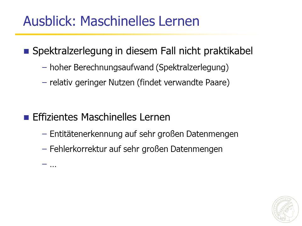 Ausblick: Maschinelles Lernen Spektralzerlegung in diesem Fall nicht praktikabel –hoher Berechnungsaufwand (Spektralzerlegung) –relativ geringer Nutze