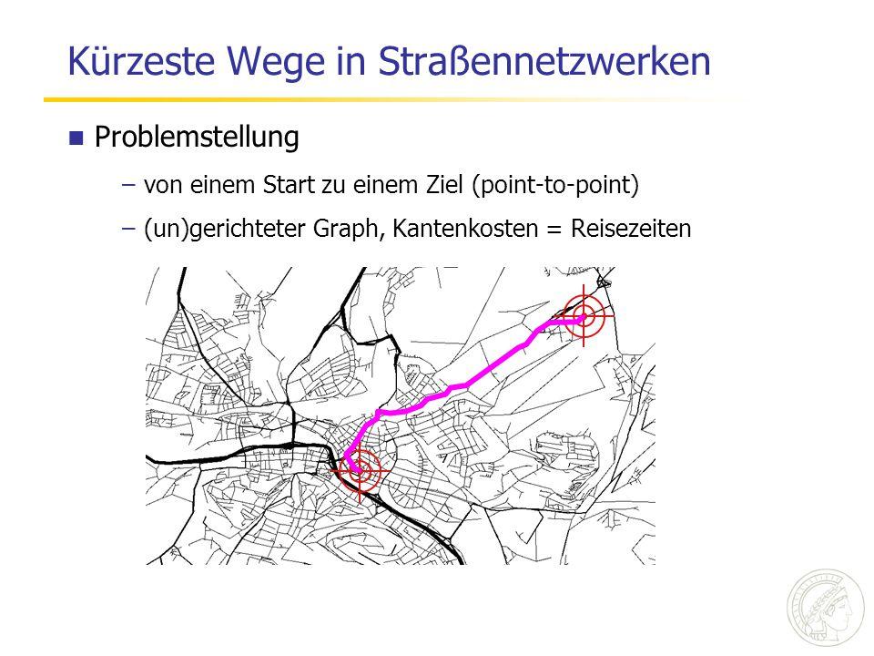 Kürzeste Wege in Straßennetzwerken Problemstellung –von einem Start zu einem Ziel (point-to-point) –(un)gerichteter Graph, Kantenkosten = Reisezeiten