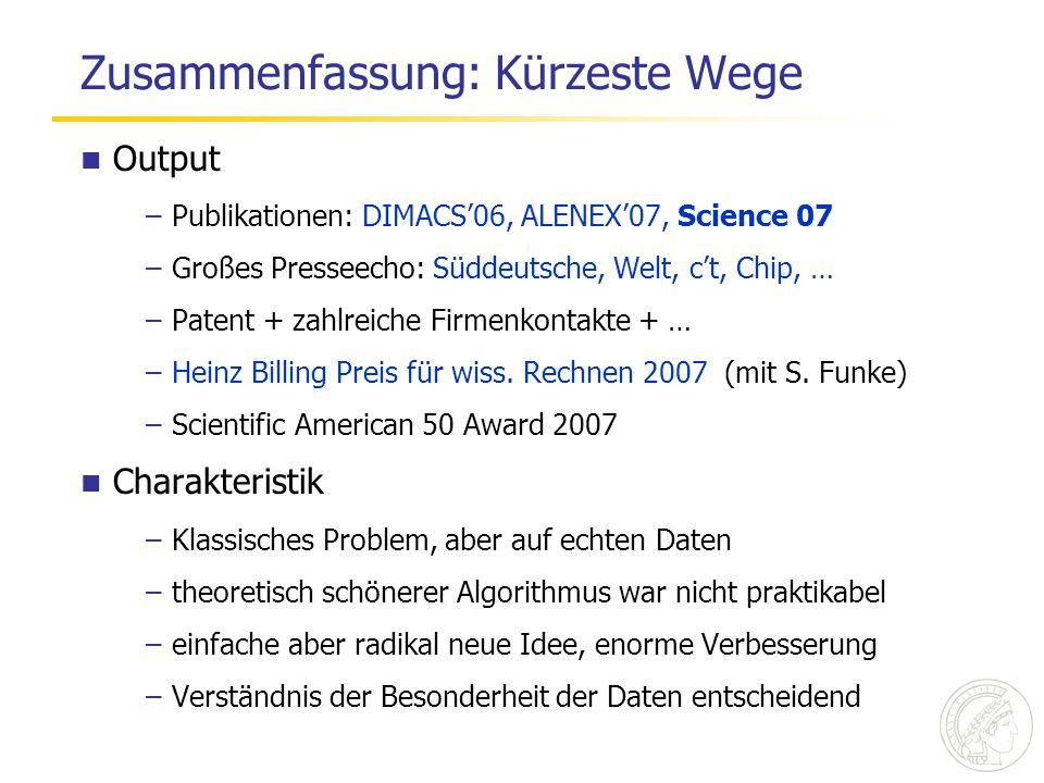 Zusammenfassung: Kürzeste Wege Output –Publikationen: DIMACS'06, ALENEX'07, Science 07 –Großes Presseecho: Süddeutsche, Welt, c't, Chip, … –Patent + z