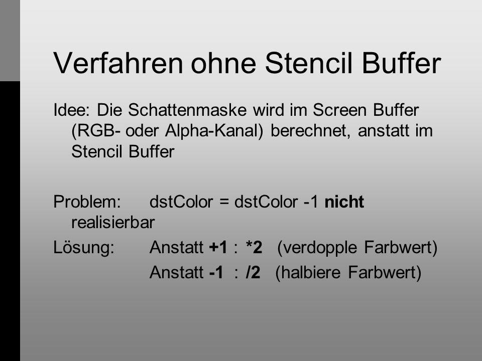 Verfahren ohne Stencil Buffer Idee: Die Schattenmaske wird im Screen Buffer (RGB- oder Alpha-Kanal) berechnet, anstatt im Stencil Buffer Problem:dstColor = dstColor -1 nicht realisierbar Lösung:Anstatt +1 :*2 (verdopple Farbwert) Anstatt -1 :/2 (halbiere Farbwert)