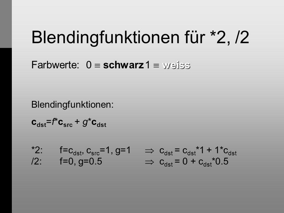Blendingfunktionen für *2, /2 weiss Farbwerte: 0  schwarz1  weiss Blendingfunktionen: c dst =f*c src + g*c dst *2: f=c dst, c src =1, g=1  c dst = c dst *1 + 1*c dst /2: f=0, g=0.5  c dst = 0 + c dst *0.5