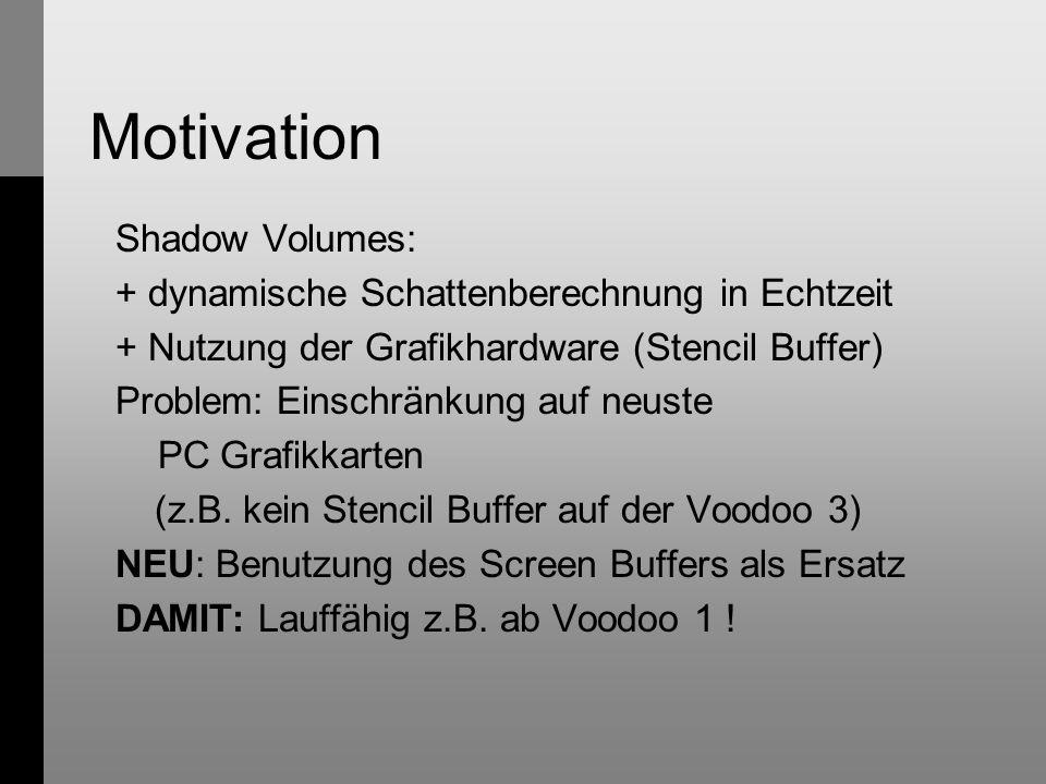 Motivation Shadow Volumes: + dynamische Schattenberechnung in Echtzeit + Nutzung der Grafikhardware (Stencil Buffer) Problem: Einschränkung auf neuste PC Grafikkarten (z.B.
