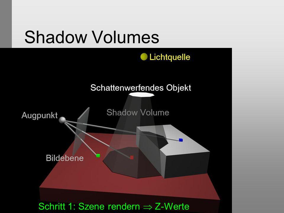 Shadow Volumes Schritt 1: Szene rendern  Z-Werte