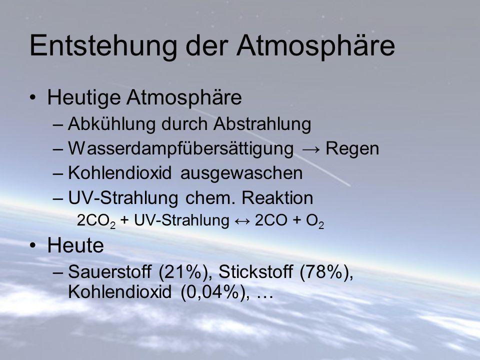 Entstehung der Atmosphäre Heutige Atmosphäre –Abkühlung durch Abstrahlung –Wasserdampfübersättigung → Regen –Kohlendioxid ausgewaschen –UV-Strahlung c