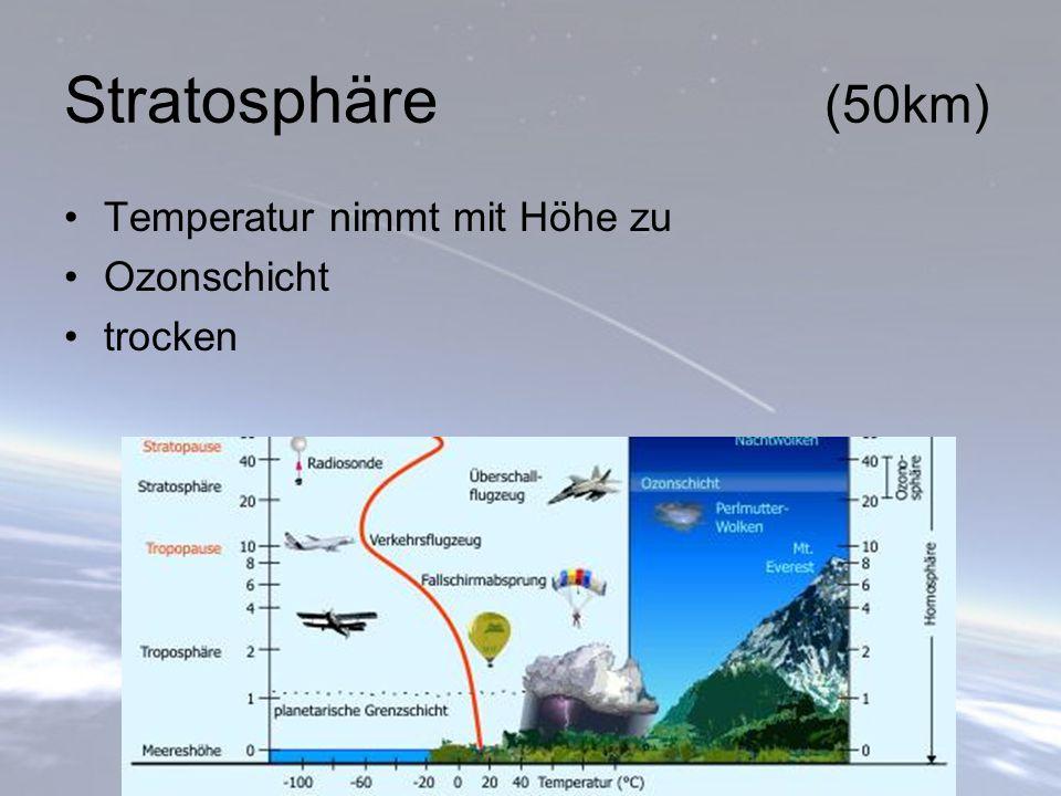 Stratosphäre (50km) Temperatur nimmt mit Höhe zu Ozonschicht trocken