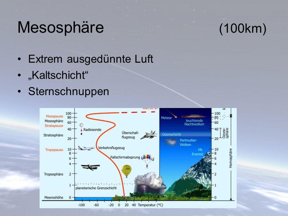 """Mesosphäre (100km) Extrem ausgedünnte Luft """"Kaltschicht"""" Sternschnuppen"""