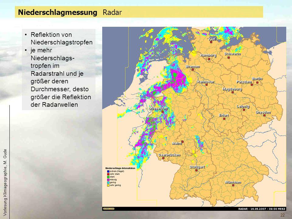 22 Niederschlagmessung Radar Reflektion von Niederschlagstropfen je mehr Niederschlags- tropfen im Radarstrahl und je größer deren Durchmesser, desto