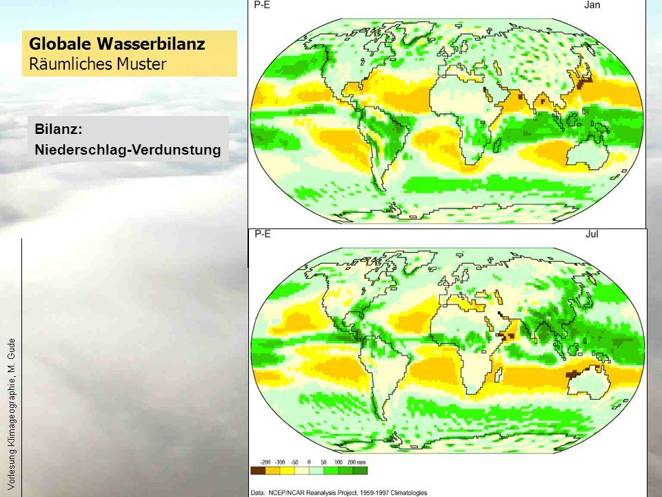 25 Globale Wasserbilanz Räumliches Muster Bilanz: Niederschlag-Verdunstung