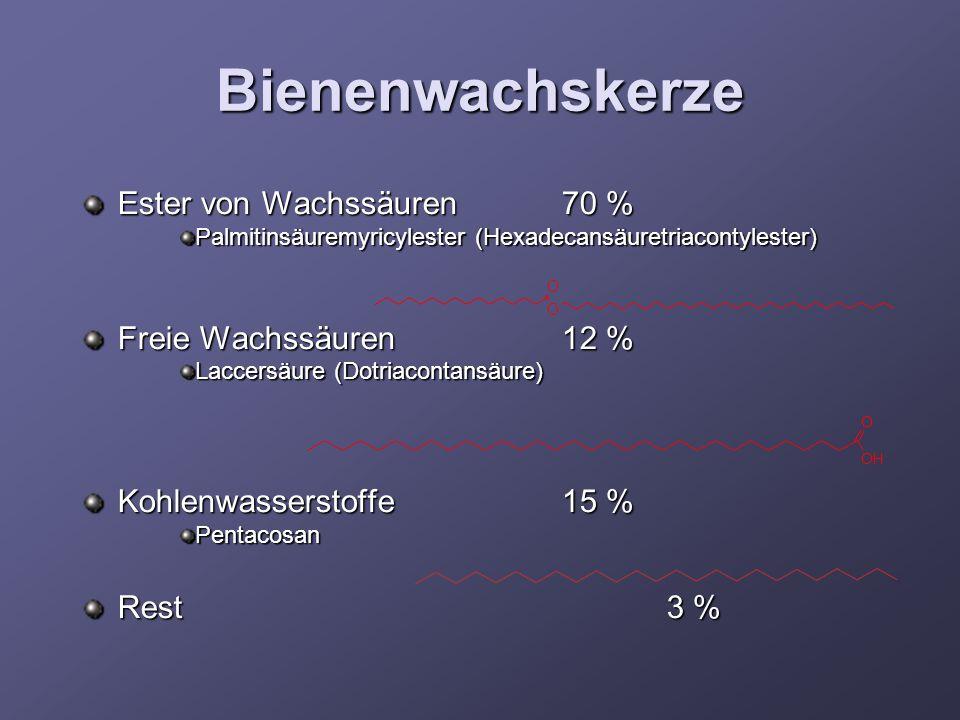 Bienenwachskerze Ester von Wachssäuren70 % Palmitinsäuremyricylester (Hexadecansäuretriacontylester) Freie Wachssäuren12 % Laccersäure (Dotriacontansä