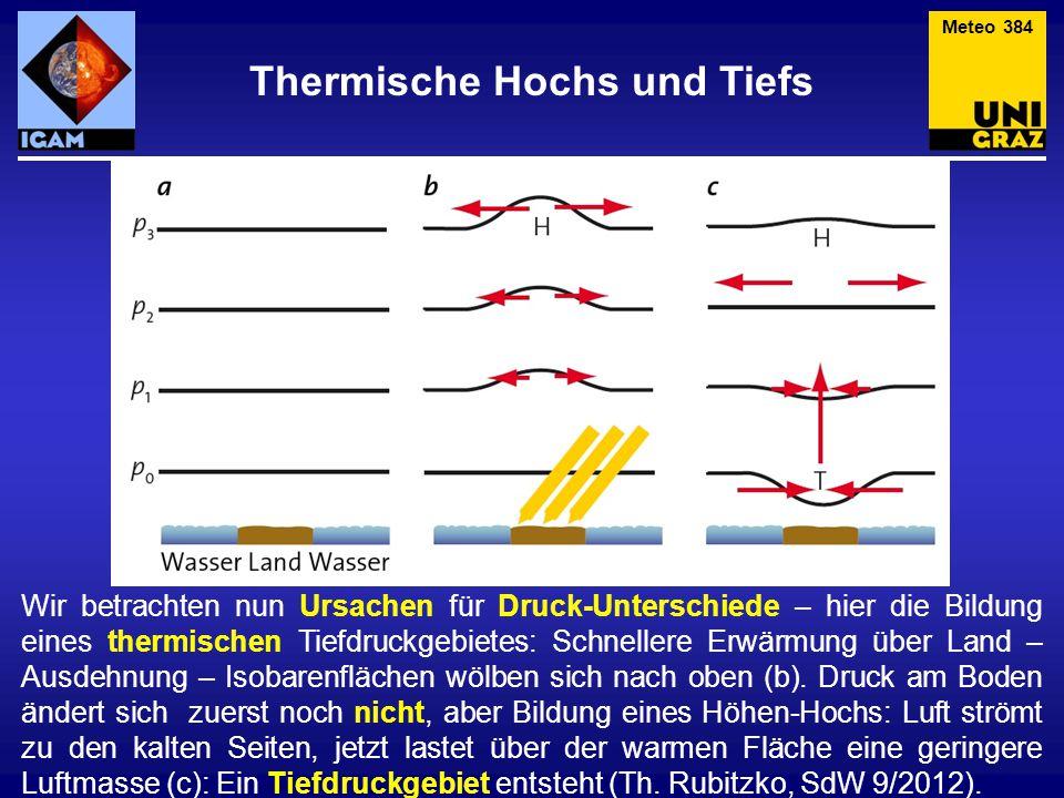 Thermische Hochs und Tiefs Meteo 384 Wir betrachten nun Ursachen für Druck-Unterschiede – hier die Bildung eines thermischen Tiefdruckgebietes: Schnellere Erwärmung über Land – Ausdehnung – Isobarenflächen wölben sich nach oben (b).