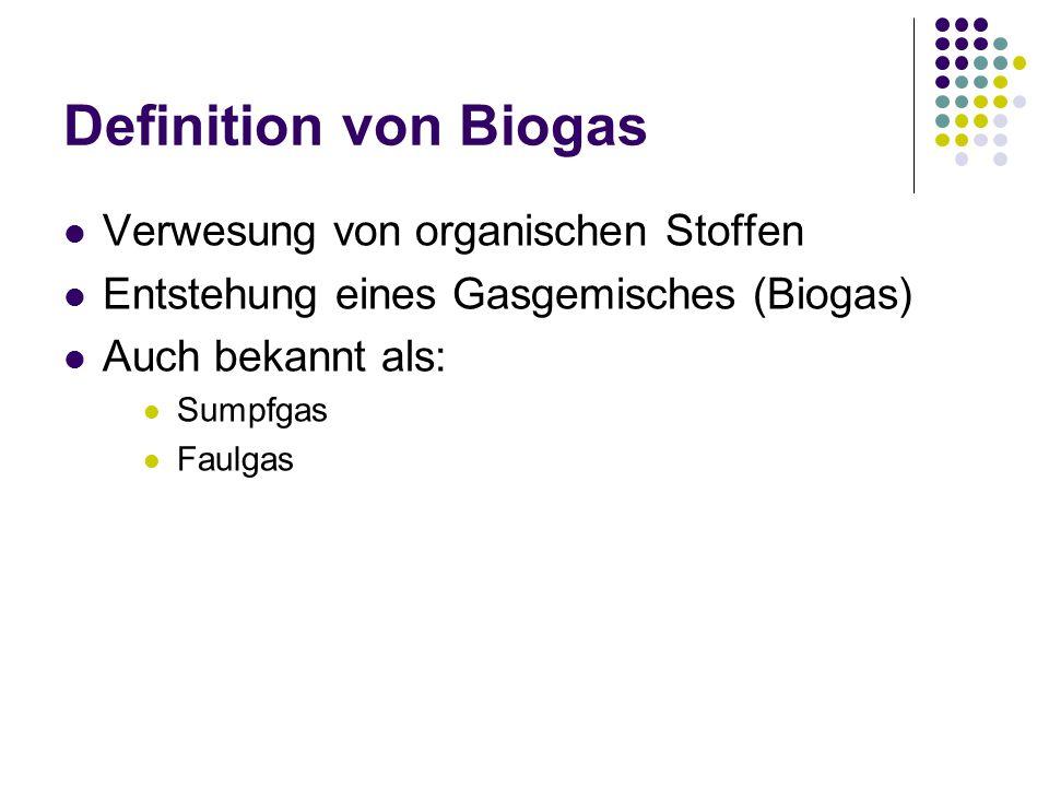 Definition von Biogas Verwesung von organischen Stoffen Entstehung eines Gasgemisches (Biogas) Auch bekannt als: Sumpfgas Faulgas