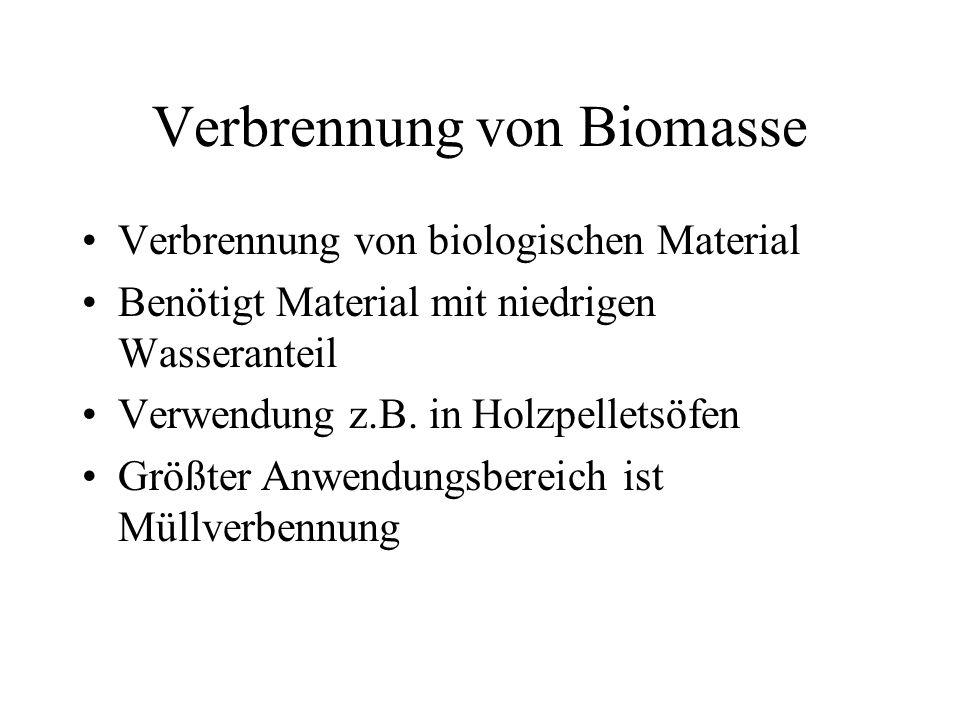 Verbrennung von Biomasse Verbrennung von biologischen Material Benötigt Material mit niedrigen Wasseranteil Verwendung z.B.