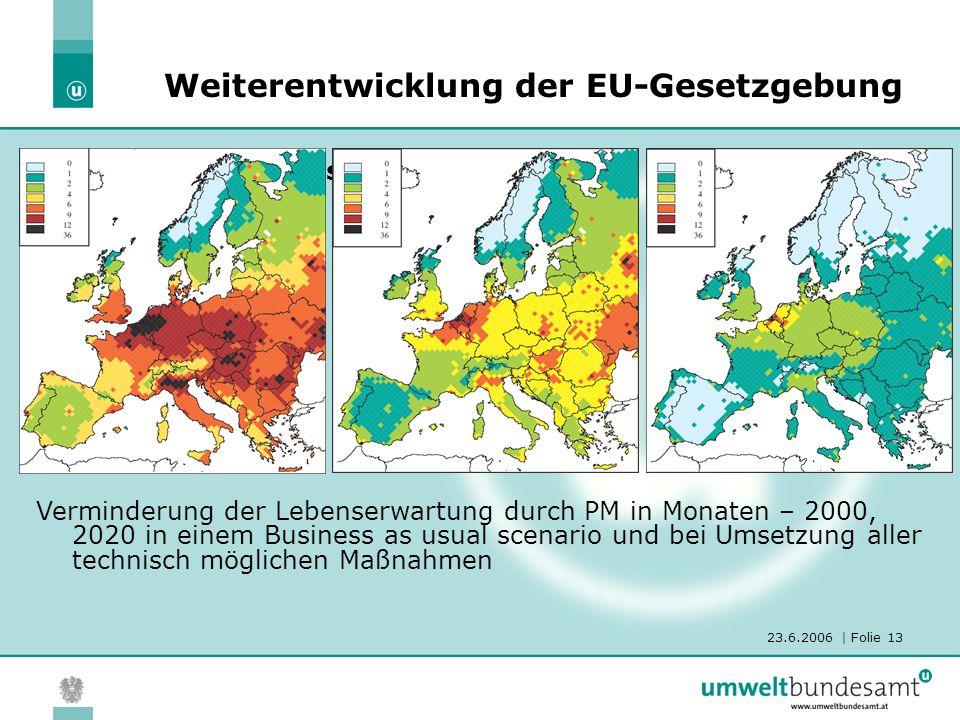 23.6.2006 | Folie 13 Die Thematische Strategie Luft Weiterentwicklung der EU-Gesetzgebung Verminderung der Lebenserwartung durch PM in Monaten – 2000,