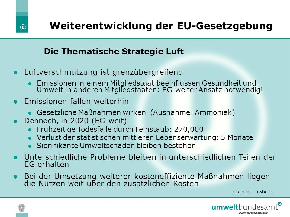 23.6.2006 | Folie 15 Die Thematische Strategie Luft Weiterentwicklung der EU-Gesetzgebung Luftverschmutzung ist grenzübergreifend Emissionen in einem