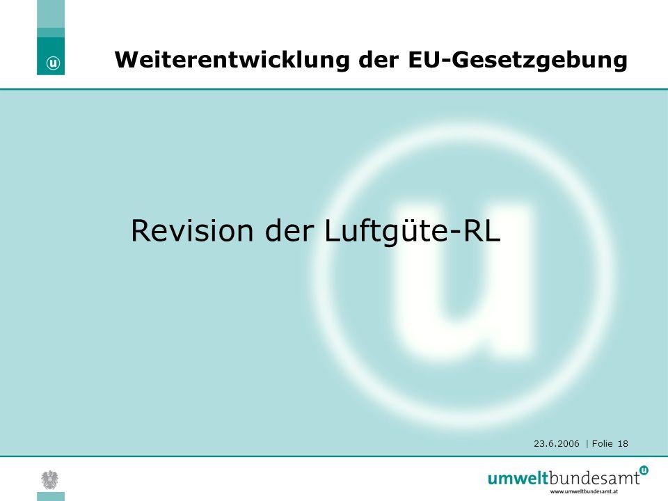 23.6.2006 | Folie 18 Revision der Luftgüte-RL Weiterentwicklung der EU-Gesetzgebung