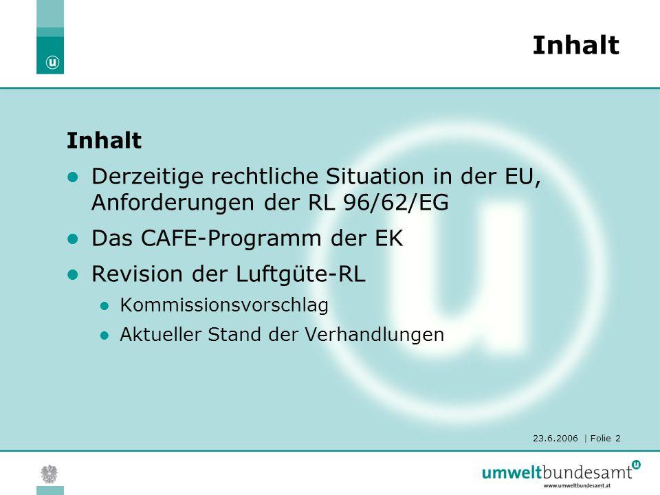 23.6.2006 | Folie 2 Inhalt Derzeitige rechtliche Situation in der EU, Anforderungen der RL 96/62/EG Das CAFE-Programm der EK Revision der Luftgüte-RL