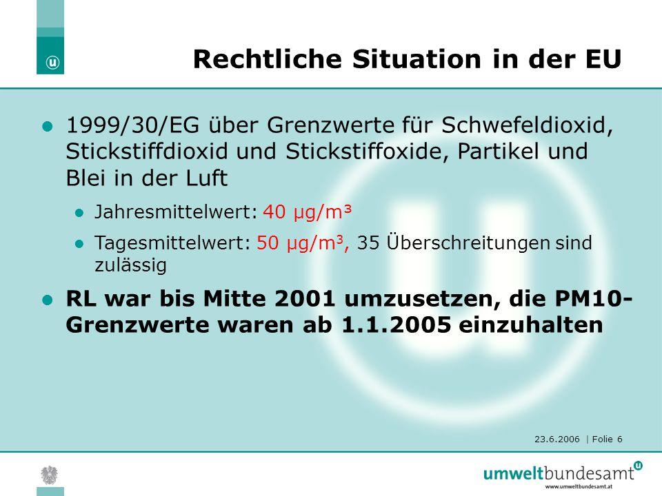 23.6.2006 | Folie 6 1999/30/EG über Grenzwerte für Schwefeldioxid, Stickstiffdioxid und Stickstiffoxide, Partikel und Blei in der Luft Jahresmittelwer
