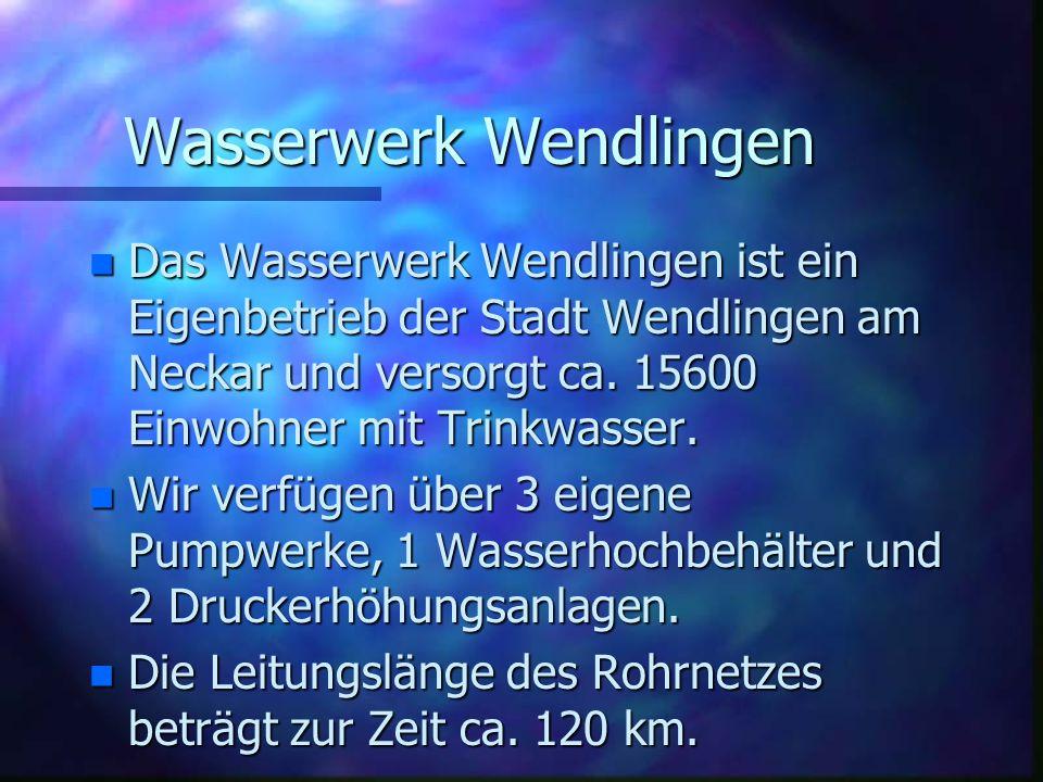 n Das Wasserwerk Wendlingen ist ein Eigenbetrieb der Stadt Wendlingen am Neckar und versorgt ca.